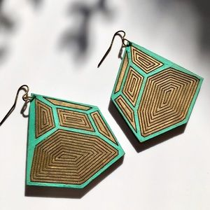 Jewelry - Hand-Painted Geometric Wood Earrings